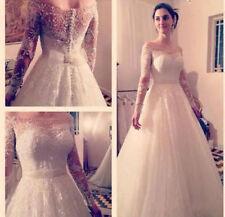Beading Boat Neck A-line Long Sleeve Wedding Dresses