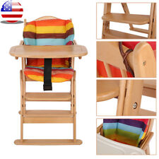 Foldable Wooden High Chair Baby Highchairs with Tray for Baby/Infants/Toddler