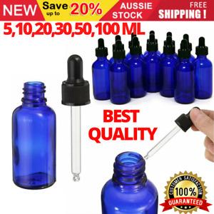 5-100ML Blue Glass Liquid Dropper Reagent Eye Pipette Essential Oils Bottle AU