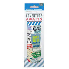 Magnetic Stylish Long Bookmark - Adventure Awaits Design - Size 140mm x 45mm