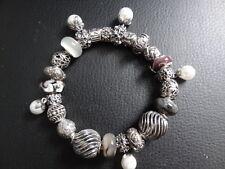 Pandora 8.3 Silver bracelet~PEARL & SWIRL ELEGANCE~Unbranded 925 SILVER CHARMS