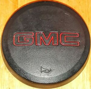 88-94 GMC Truck Black & Red Leather Steering Wheel Horn Pad Button Chevy OEM