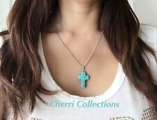 """Turquoise Cross Pendant Necklace  925 Silver Plated Natural Gemstone 18"""" N39"""