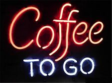 """Coffee To Go Cafe Open Neon Lamp Sign 17""""x14"""" Bar Light Glass Artwork"""