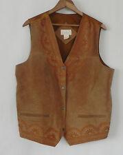 Roaman's Vest Leather/Satin Brown Embroidery Trim Pockets Size M