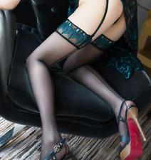 Medias couture negro para liguero a liga motivos plumas pavo real sexy
