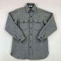 Vintage Woolrich Striped Gray Wool Blend Shirt Jacket Button Front Size M Long