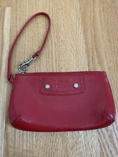 LACOSTE Wristlet Wallet Bag Clutch Clasp Red Patent Leather Embossed