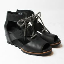 SOREL  Joanie Lace-Up Black Leather Wedge Sandals Sz 9.5