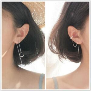 Korean Style Womens Long Dangle Drop Chain Threader Earrings Stud Ear Jewelry ND