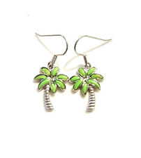Green Turquoise 925 Silver Hawaiian Palm Tree Earrings Rhodium Paradise Hawaii