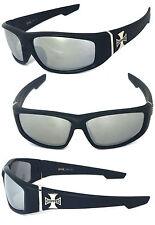 Choppers Cross Logo Mens Motor Sunglasses - C39 Matte Black/ Clear Mirror Lens