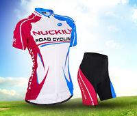 Women's Sports Wear Bike Cycling Bicycle Short Sleeve Jersey Padded Shorts Set