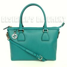 GUCCI teal leather gold GG CHARM convertible MEDIUM TOTE crossbody bag NWT Auth