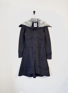 Free People Women's XS Cloak 82% Cotton Long Zip Jacket Coat With Faux Fur Neck