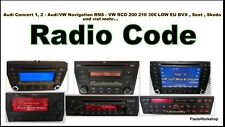 Radio Code - Audi Concert 1 , 2 RNS Navigation VW RCD 200 210 300 510 BVX Seat S