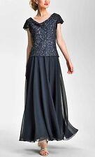 New J Kara Sequin Flutter Sleeve Chiffon Gown Navy Size 12 MSRP $239