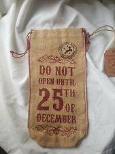 Christmas Hessian Bottle Bag Xmas wine gift ECO jute 25TH OF DECEMBER