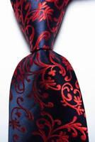 New Classic Paisley Dark Blue Red JACQUARD WOVEN 100% Silk Men's Tie Necktie