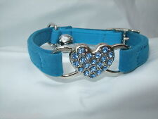Soft Velvet Bad Kitty Diamante Heart Cat Kitten Collar Bell- in Sky Blue