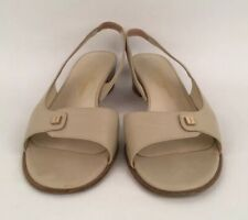 Women's Salvatore Ferrogamo Beige Leather Open Toe Slingback Sandals Size 40