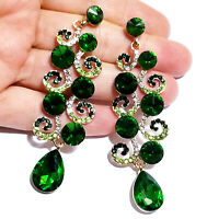 Chandelier Earrings Rhinestone Green Crystal 3.2 in