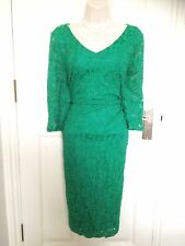 Planet Green Lace Cotton Special Occasion Cocktail Evening Pencil Dress Size 16