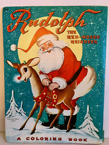 "VINTAGE ""RUDOLPH"" THE RED NOSE REINDEER COLORING BOOK.  1951."