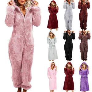 Women Hooded Soft Fleece Dressing Gown Fluffy Bathrobe / 1Onesie Jumpsuit Lounge