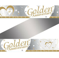 9ft x 50th Golden Wedding Anniversary Party Foil Banner Decoration