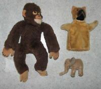 3x Juguete Animal: Mono Chimpancé + Pequeño Elefante + Muñeca de Juego Mano