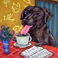 LABRADOR  RETRIEVER at the cafe coffee shop dog art tile coaster gift