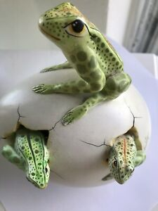 Frogs Hatching from Large  Egg Sculpture  Handmade   Signed J. Perez