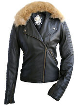 Women's Brando Leather Jacket with detachable Fox Fur Collar