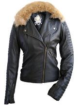 Women's Brando Leather Jacket with detachable Fox Fur Collar