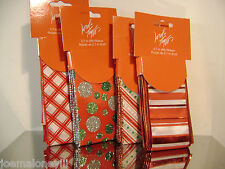 LORD & TAYLOR RED STRIPED & POLKA DOT MIXED WIRED CHRISTMAS RIBBON  4 PACK