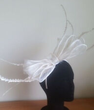 LARGE STUNNING IVORY SINAMAY FASCINATOR WITH FEATHERS & LOOPS,  SPRING RACING