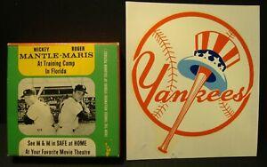 Vintage NEW YORK YANKEES Mantle / Maris 8mm movie and vintage Yankees decal