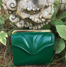 Vintage 1960's Dark Green Corfam Vegan Leather Snap Change Purse Wallet RARE