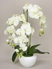 TOP Orchidee Kunstpflanze, Kunstblume, 3 Zweige mit Topf ,Deko Pflanze Weiß K201