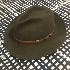 MINNETONKA Hat Wool Lite Felt Green Fedora Western Medium Water Repel