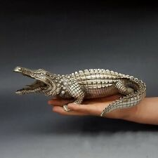 Folk Classical Pure Silver Plated Brass Alligator Crocodile Lovely Animal Statue