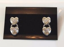 SALE Designer Inspired 2 Tone Double Heart Cable & Pave Dangle Pierced Earring