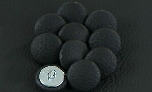 10 Upholstery buttons in Black Faux leather 20mm