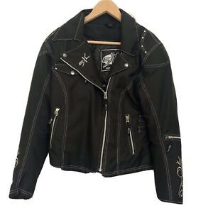 EXL Women's Motorcycle Jacket Medium Padded Impact Protectors Black Zipper Up