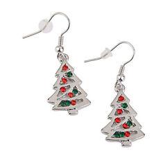 Red And Clear Crystal Christmas Tree Shape Dangle Earrings Stud Christmas Gift