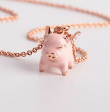 KATE SPADE Pink Multi Imagination Flying Pig Pendant Necklace w/ KS Dust Bag NEW