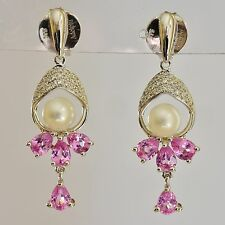 NATURAL PINK SAPPHIRE PEARL DROP EARRINGS 20pts REAL DIAMONDS 9K WHITE GOLD NEW