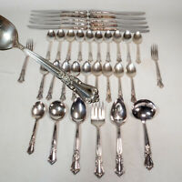 38PC Vintage Wm A Rogers Valley Rose Oneida Set of Silver-plated Flatware