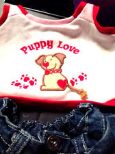 Build A Bear Clothes Tank Top Puppy Love Dog Hearts Jean Skirt Stuffed Animal